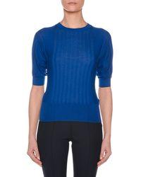 Agnona - Crewneck Short-sleeve Superfine Cashmere Sweater - Lyst