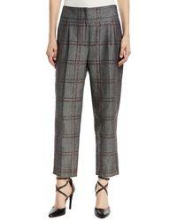 Brunello Cucinelli - Cotton/linen Check Paillette Trousers - Lyst