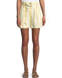 FRAME - Striped Belted Linen Shorts - Lyst