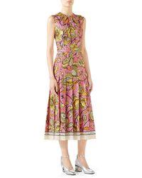bb52532736b Gucci - Sleeveless Watercolor-floral Silk Midi Dress - Lyst