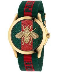 Gucci - Le Marche Des Merveilles Bee Yellow Goldtone Pvc & Striped Nylon Strap Watch - Lyst