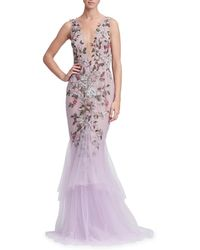 Marchesa - Plunging V-neck Sleeveless Floral-embroidered Tulle Evening Gown - Lyst