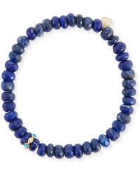 Sydney Evan - 8mm Lapis Beaded Bracelet With Turquoise & Diamond Bezel Station - Lyst