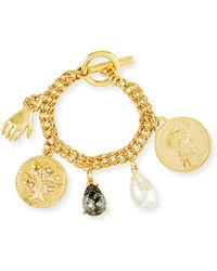 Oscar de la Renta - Mixed Talisman & Coin Toggle Charm Bracelet - Lyst