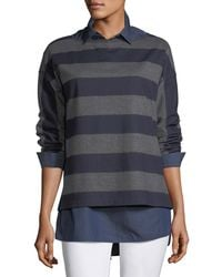 Lafayette 148 New York | Bateau-neck Striped Wool Jersey Pullover | Lyst