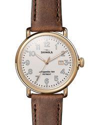Shinola - Men's Runwell Leather Watch Brown/gold - Lyst