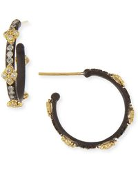 Armenta - Small Midnight Hoop Earrings With Gold & Diamond Crivelli Crosses - Lyst