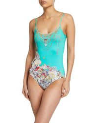 3aaa60808c9b8 Camilla Plunging V-neck One Piece Swimsuit in Blue - Lyst
