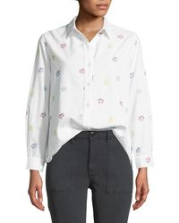 The Great - The Campus Floral-embroidered Button-down Cotton Shirt - Lyst