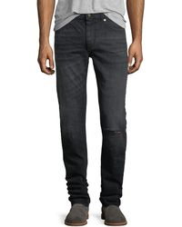 Saint Laurent - Dirty-wash Skinny Jeans With Ripped Knee - Lyst
