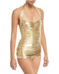 Norma Kamali - Bill Mio Halter Shirred Metallic One-piece Swimsuit - Lyst