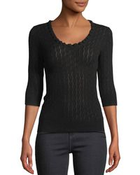 Rebecca Taylor - Scoop-neck Merino Wool 3/4-sleeve Sweater - Lyst