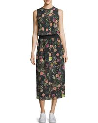 Theory | Lewie Sleeveless Floral-print Crepe De Chine Long Dress | Lyst