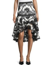 Alexis - Halima Monochrome Lace High-low Flared Skirt - Lyst
