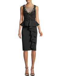 Marchesa notte - Embroidered Stretch Faille Cocktail Dress W/ 3d Beading - Lyst