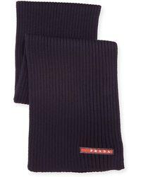 Prada Ribbed Wool Scarf