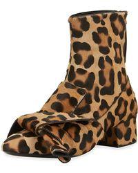 N°21 - Leopard-print Calf Hair Bow Boot - Lyst