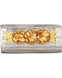 Nancy Gonzalez - Floral Insert Crocodile Clutch Bag - Lyst