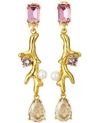 Oscar de la Renta - Coral Crystal Drop Earrings - Lyst