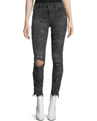 T By Alexander Wang | Destroyed Skinny-leg Raw-hem Jeans | Lyst