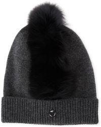Charlotte Simone - Cashmere Beanie Hat W/ Fur Mohawk - Lyst