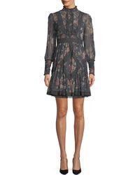 Zimmermann - Unbridled Floral High-neck Lace Short Dress - Lyst
