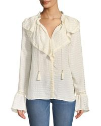 PAIGE - Silvette Ruffled-neck Bell-sleeve Striped Blouse - Lyst