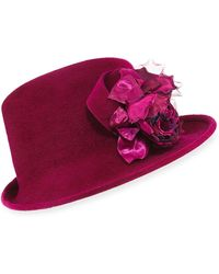Philip Treacy - Side Sweep Velour Hat W/ Rosette - Lyst