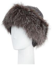 Inverni - Cashmere & Fox Fur Beanie - Lyst