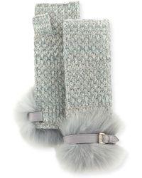 Portolano - Cashmere Fingerless Gloves W/ Fur & Buckle Cuffs - Lyst