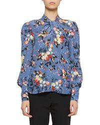 Erdem - Fayola Long-sleeve Floral Twist-neck Blouse - Lyst