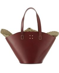 Trademark - Large Leather Basket Bag W/gingham Insert - Lyst