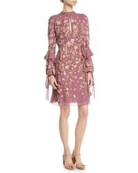J. Mendel - High-neck Long-sleeve Floral-embroidered Silk A-line Dress - Lyst