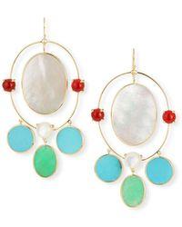 Ippolita Nova 18k Gold Large Oval Orbit Earrings In Riviera Sky - Multicolour