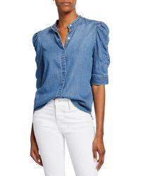 FRAME Button-front Elbow-sleeve Shirred Denim Shirt