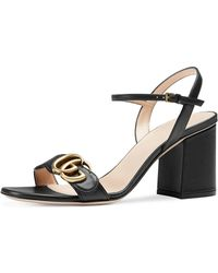 b932bf3410d Gucci Marmont Gg Flora-print Leather Block-heel Sandals in Blue - Lyst