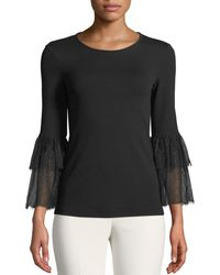 Michael Kors - Lace-bell-sleeve Stretch Matte Jersey Top - Lyst