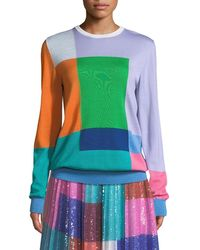 Mary Katrantzou - Long-sleeve Colorblocked Wool Pullover Sweater - Lyst
