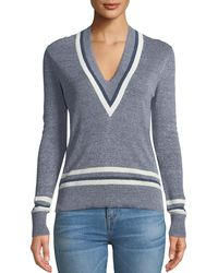 Veronica Beard - Walton V-neck Long-sleeve Melange Jumper - Lyst