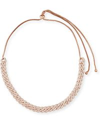 Fallon - Armure Pavé Crystal Curb Chain Necklace - Lyst