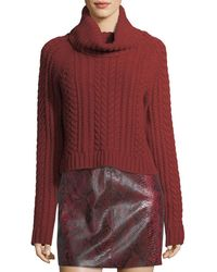 Alice + Olivia | Tobin Cable-knit Cropped Turtleneck Sweater | Lyst