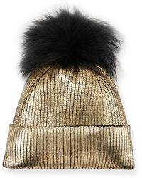 Jocelyn - Metallic Fur-pompom Beanie Hat - Lyst