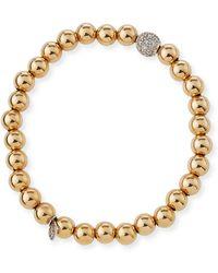 Sydney Evan - 7mm Beaded Golden Ball Bracelet With Diamond Bead - Lyst