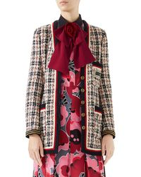 Gucci - 6-button Single-breasted Tweed Jacket With Sega® Embroidery - Lyst