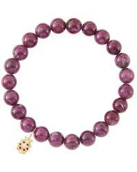 Sydney Evan - 10mm Natural Ruby Beaded Bracelet With 14k Gold/diamond Medium Ladybug Charm - Lyst