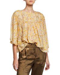 The Great - The Duskfall Floral Blouson-sleeve Silk Blouse - Lyst