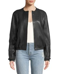 Elizabeth and James - Tinley Collarless Leather Bomber Jacket - Lyst