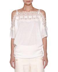 Agnona - Off-shoulder Knit Lace Top - Lyst