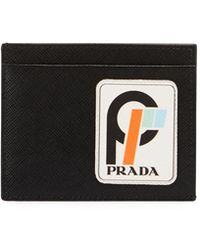 Prada - Men's Saffiano Leather Card Case With Runway Logo Patch - Lyst