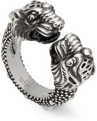 Gucci - Men's Siamese Snake Tiger Head Ring - Lyst